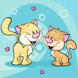 Gattino sveglio nell'amore su fondo astratto Immagini Stock Libere da Diritti