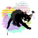 Gattino sveglio nero divertente di schizzo astratto dell'acquerello Immagini Stock Libere da Diritti