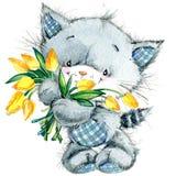 Gattino sveglio watercolor illustrazione di stock