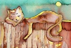 Gatto, acquerello, illustrazione di stock