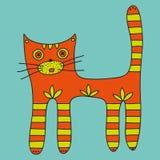 Gatto arancio sveglio con le zampe e la coda a strisce su un fondo blu Fotografia Stock