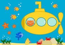 Gatto arancio in un'illustrazione divertente sottomarina gialla del fumetto Immagini Stock