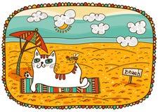 Gatto bianco che si trova sulla spiaggia Fotografia Stock