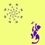 Gatto blu che gioca con la farfalla royalty illustrazione gratis