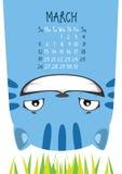 Gatto blu sorridente Calendario di marzo illustrazione vettoriale