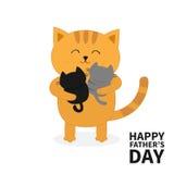 Gatto che abbraccia il piccolo gattino del bambino due Giorno di padri felice Gattini sulle mani Abbraccio di Kitty illustrazione di stock