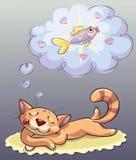 Gatto che dorme e che sogna Immagine Stock