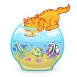 Gatto che esamina l'acquario con il pesce illustrazione vettoriale