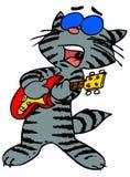 Gatto che gioca chitarra Fotografia Stock