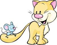Gatto che gioca con il topo - illustrazione sveglia isolata su bianco Fotografia Stock