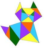 Gatto colorato geometrico su un fondo bianco illustrazione vettoriale