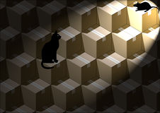 Gatto con il topo Fotografie Stock