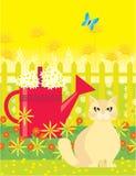 Gatto con il vaso di innaffiatura rosso Fotografia Stock Libera da Diritti