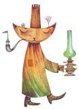 Gatto con la lampada a olio verde Fotografia Stock