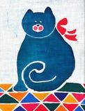 Gatto con un arco rosso Fotografie Stock Libere da Diritti