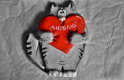 Gatto con un cuore Fotografie Stock
