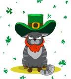 Gatto contrariato vestito come leprechaun Giorno del ` s di St Patrick del manifesto Fotografia Stock Libera da Diritti