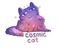 Gatto cosmico di scarabocchio illustrazione di stock