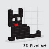 Gatto. 3D pixel Art. Vector Fotografie Stock