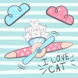 Gatto del fumetto, caratteri del gattino illustrazione di stock