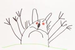 Gatto del mostro - disegno a penna del feltro del bambino Fotografia Stock