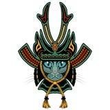 Gatto del samurai Versione colorata Immagini Stock