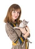 Gatto della donna Fotografia Stock