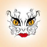 Gatto della donna - tatui il modello, illustrazione di vettore Fotografia Stock