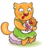 Gatto della madre del fumetto con il bambino Fotografie Stock