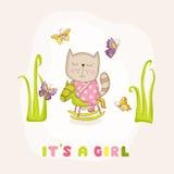 Gatto della neonata su un cavallo - doccia di bambino o carta di arrivo Fotografie Stock