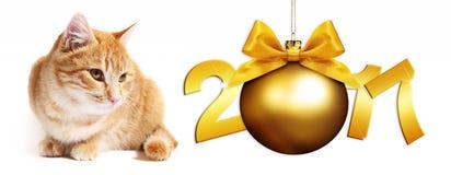 gatto dello zenzero di 2017 testi con l'arco dorato del nastro del briciolo della palla di natale Fotografia Stock Libera da Diritti