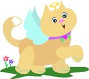 Gatto di angelo con i fiori Immagini Stock