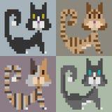 Gatto di arte del pixel dell'illustrazione fotografia stock