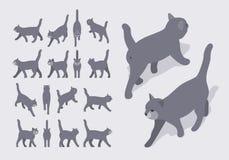 Gatto di camminata grigio isometrico illustrazione di stock
