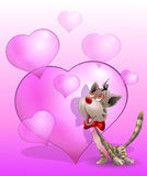 Gatto di giorno di biglietti di S. Valentino con i cuori Fotografie Stock