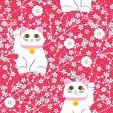 Gatto di Maneki-neko Modello senza cuciture con i gatti fortunati disegnati a mano di seduta Coltura giapponese Disegno di scarab illustrazione vettoriale