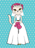 Gatto di modo in vestito da sposa bianco Immagini Stock