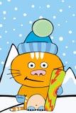 Gatto di snowboard Immagine Stock