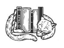 Gatto di sonno intorno ai libri che incidono vettore illustrazione vettoriale