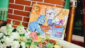 Gatto disegnato a mano fresco due nell'immagine Gatto blu e bianco archivi video