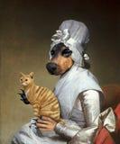 Gatto divertente, cane, pittura a olio surreale illustrazione di stock