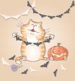 Gatto divertente che fa ghirlanda di carta per Halloween illustrazione di stock