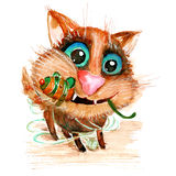 Gatto divertente dell'acquerello disegnato a mano di vettore con il topo del giocattolo Fotografia Stock