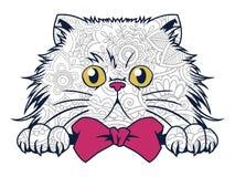 gatto divertente isolato nello scarabocchio disegnato a mano del gatto del fondo bianco per la pagina adulta di coloritura del ri Fotografie Stock