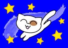 Gatto divertente nel cielo notturno - illustrazione vectorial Immagini Stock