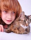 Gatto e bambino Immagine Stock Libera da Diritti