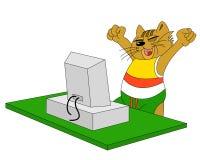Gatto e calcolatore Fotografia Stock