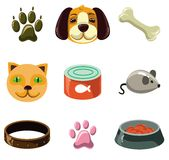 Gatto e cane con i giocattoli e l'alimento illustrazione vettoriale