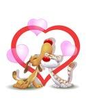 Gatto e cane nell'amore, giorno di biglietti di S. Valentino Immagine Stock Libera da Diritti