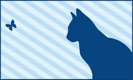 Gatto e farfalla Fotografia Stock